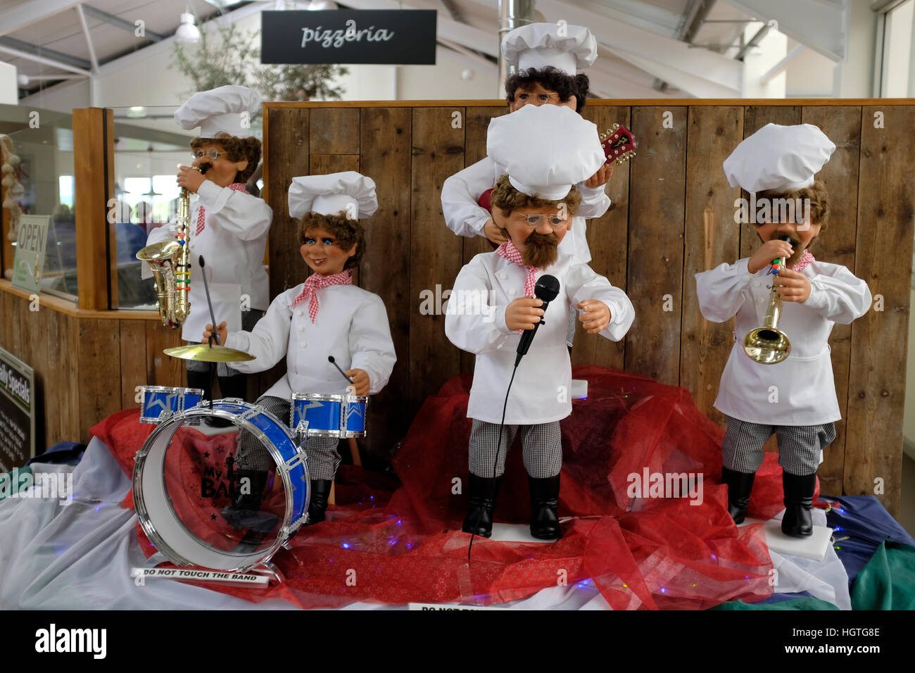 Garden centre center Christmas display Automatons band of chefs playing carols Isle of Wight UK - Stock Image