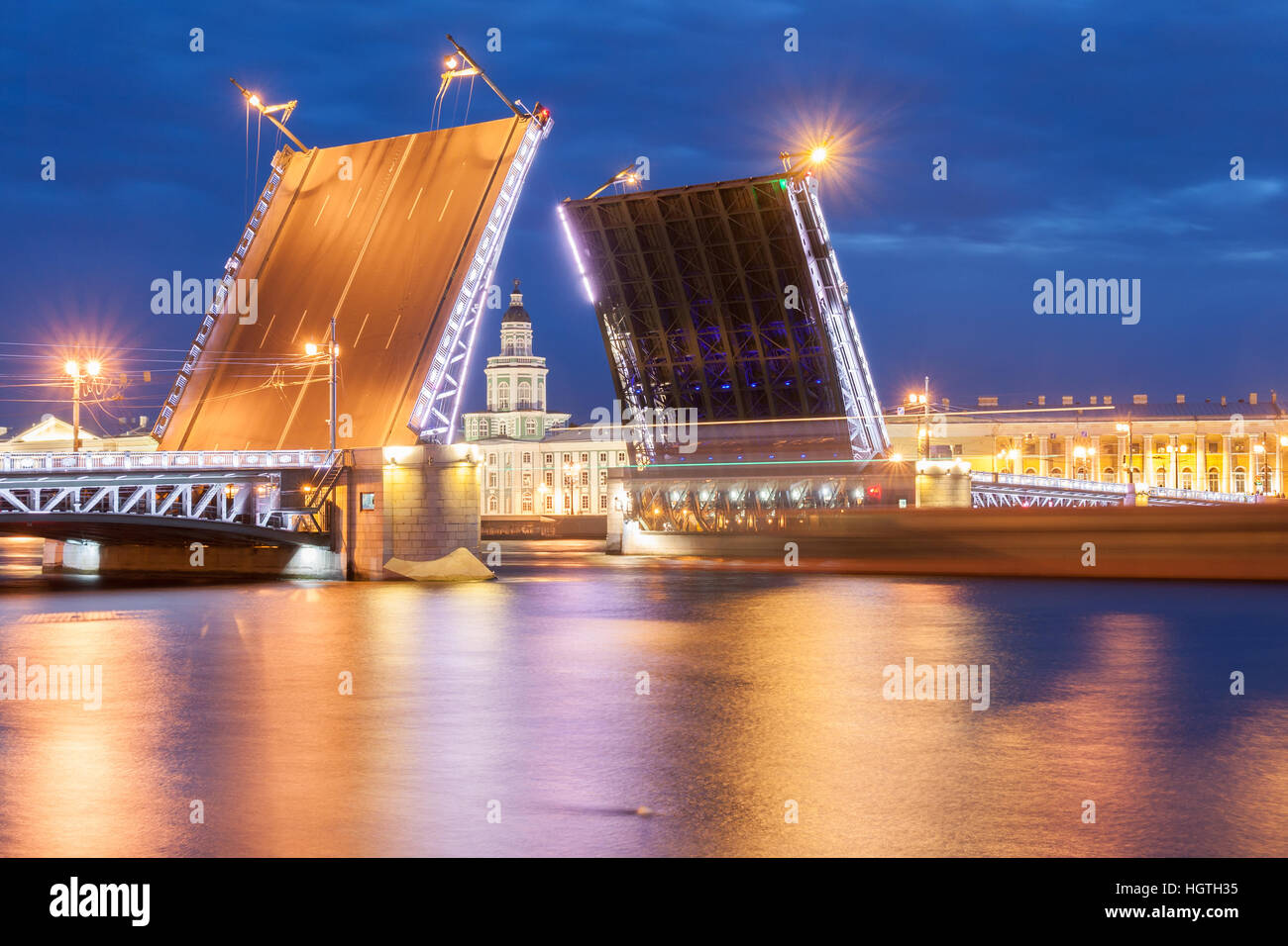 The raised Palace bridge at white nights in the city of St.-Petersburg Stock Photo