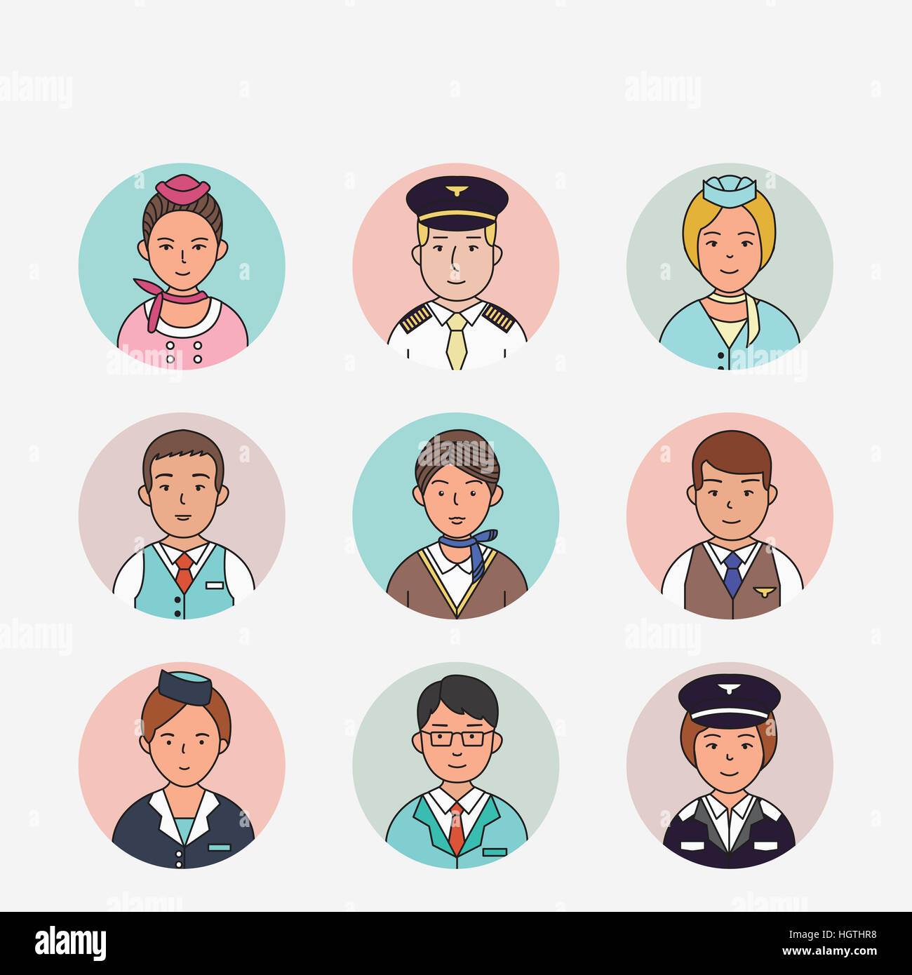 Icons of portraits of pilots and flight attendants - Stock Image