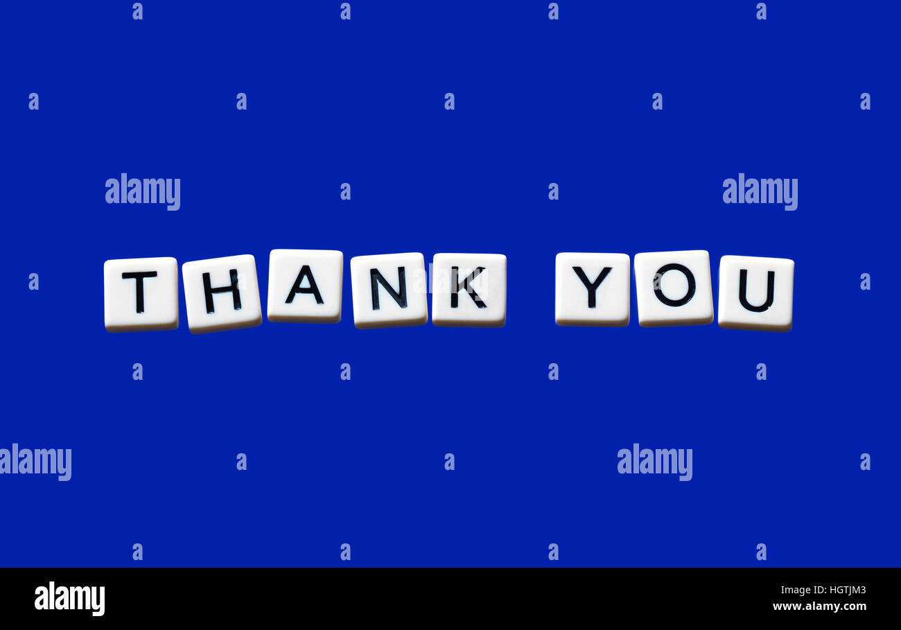 Thank You highlighted on white blocks - Stock Image