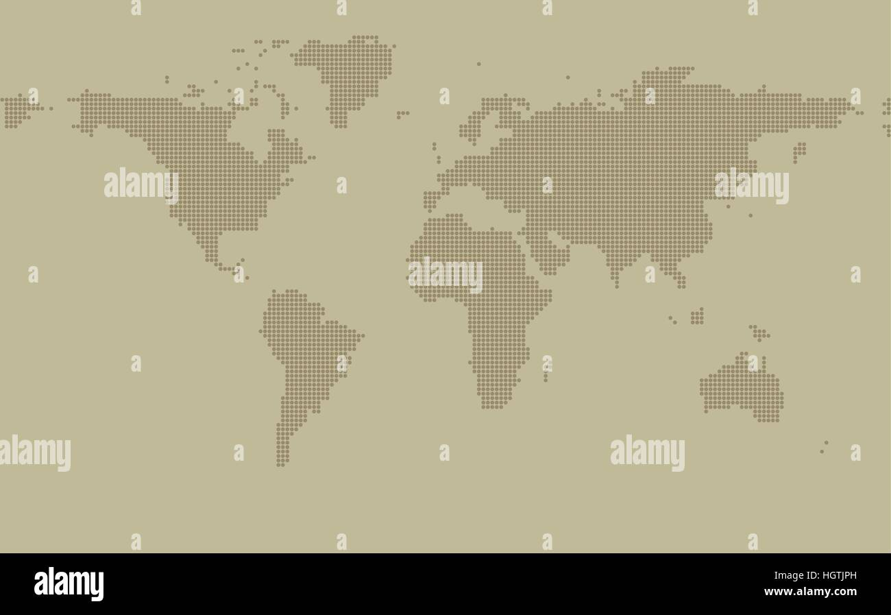 Dotted map on khaki background with resolution 2000x1000 dots and all major earth continents - Eurasia, North and - Stock Image