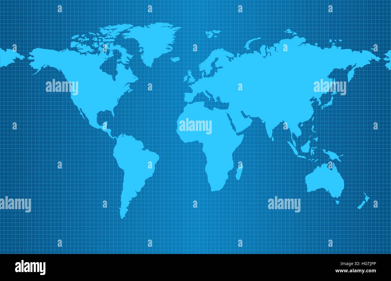 Earth map on blue gradient background with grid and all major earth continents - Eurasia, North and South America, - Stock Image