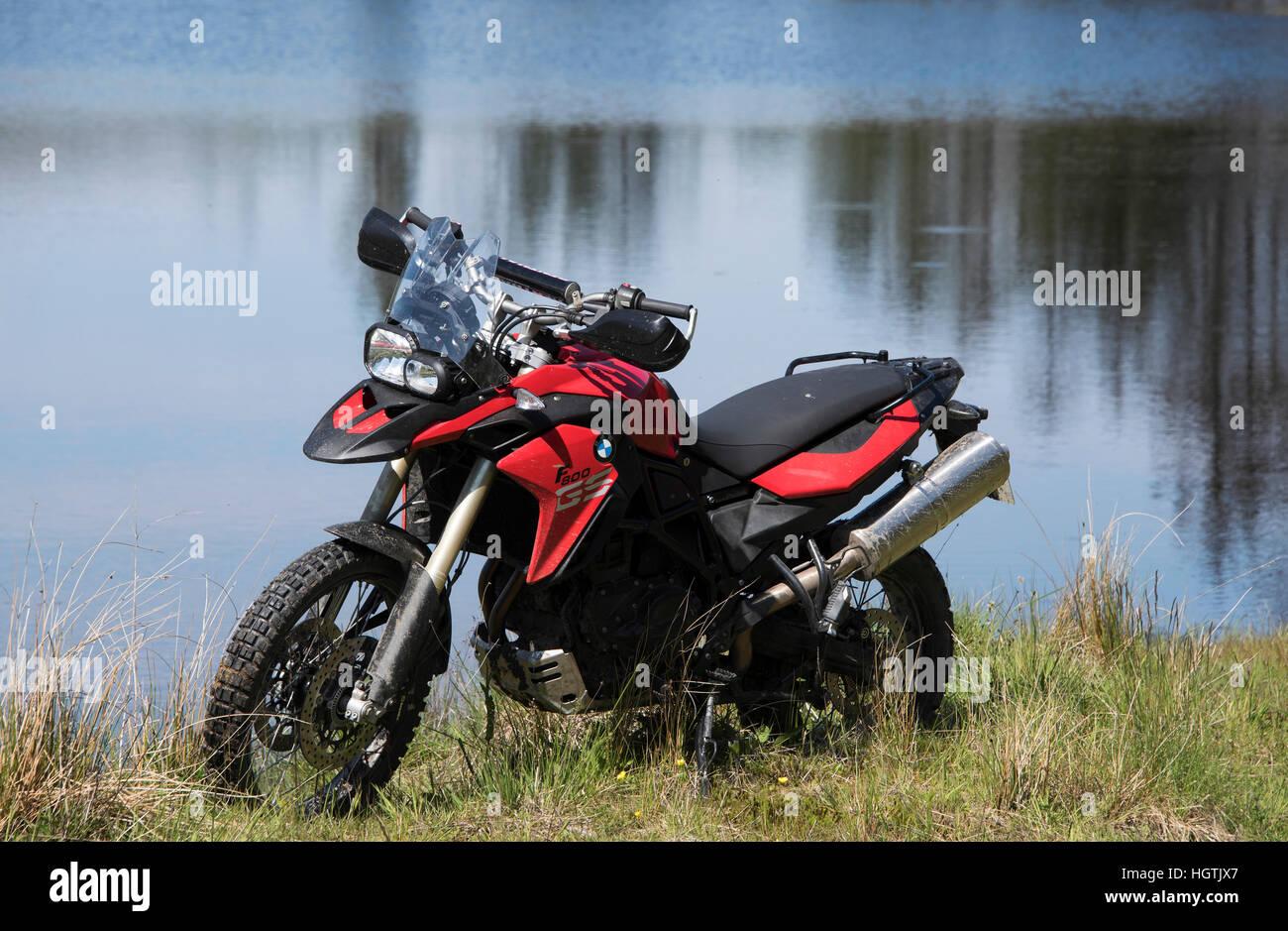 BMW  F 800 GS Adventure motorcycle parked beside lochen Shira near Inveraray, Argyll. - Stock Image