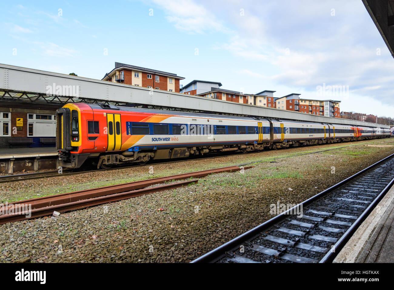 Southwest Trains passenger train at Exeter Central railway station Stock Photo