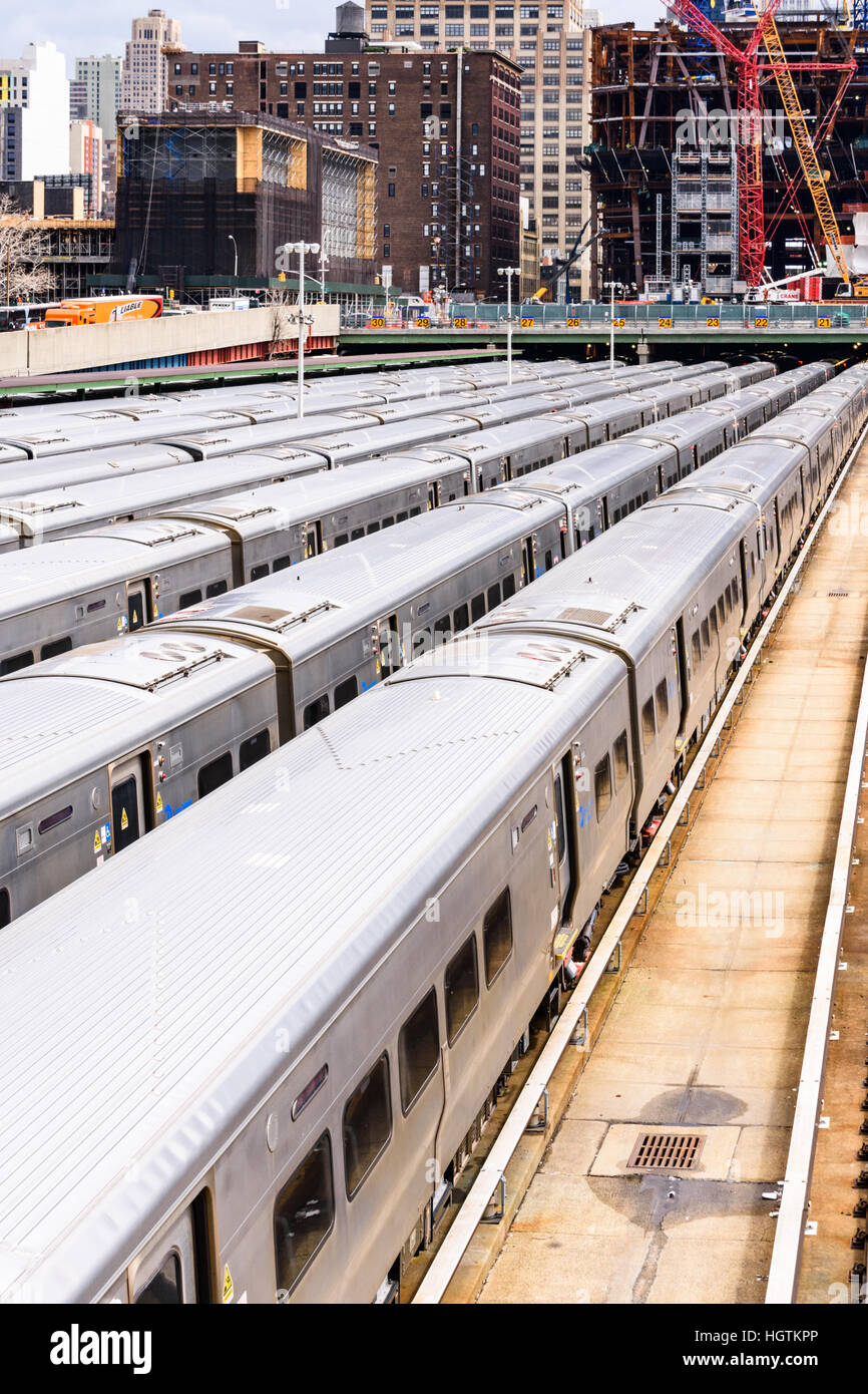 Long Island Railroad Commuter trains stabled in the Hudson Yards Stock Photo