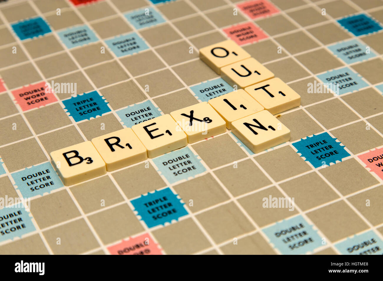 Scrabble letters spelling out Brexit letters, in or out? - Stock Image
