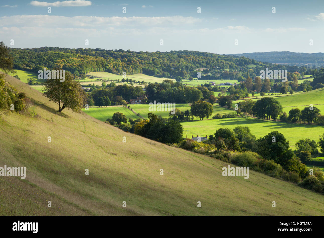 Hambleden valley and early autumn colours seen from the grassy slopes above Turville in Buckinghamshire, Chiltern - Stock Image