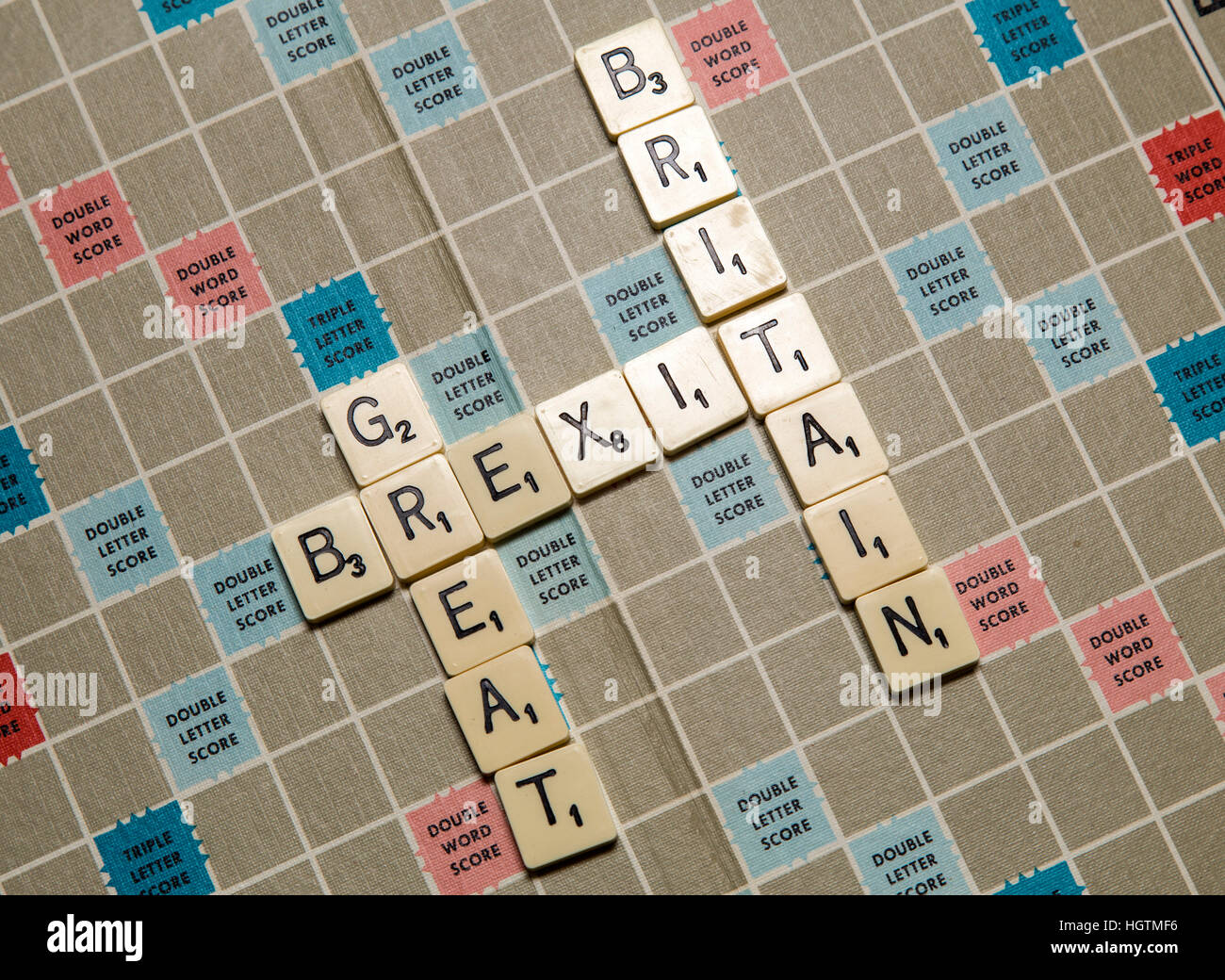 Scrabble letters spelling out Brexit Great Britain in letters - Stock Image