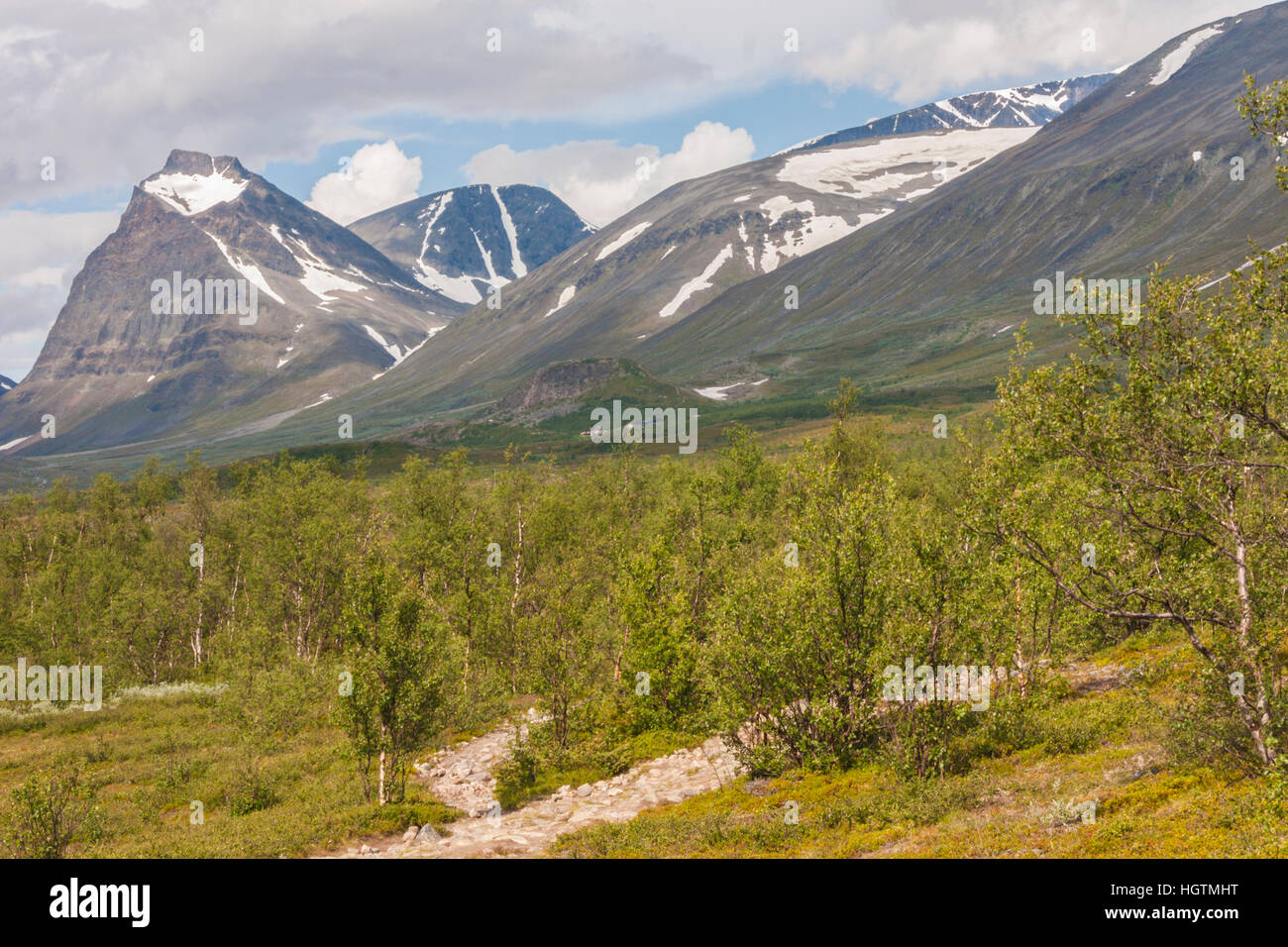 View over Kebnekaise and the mountains around, summer time but snow on the mountains and a lot of birch trees, Kiruna, - Stock Image