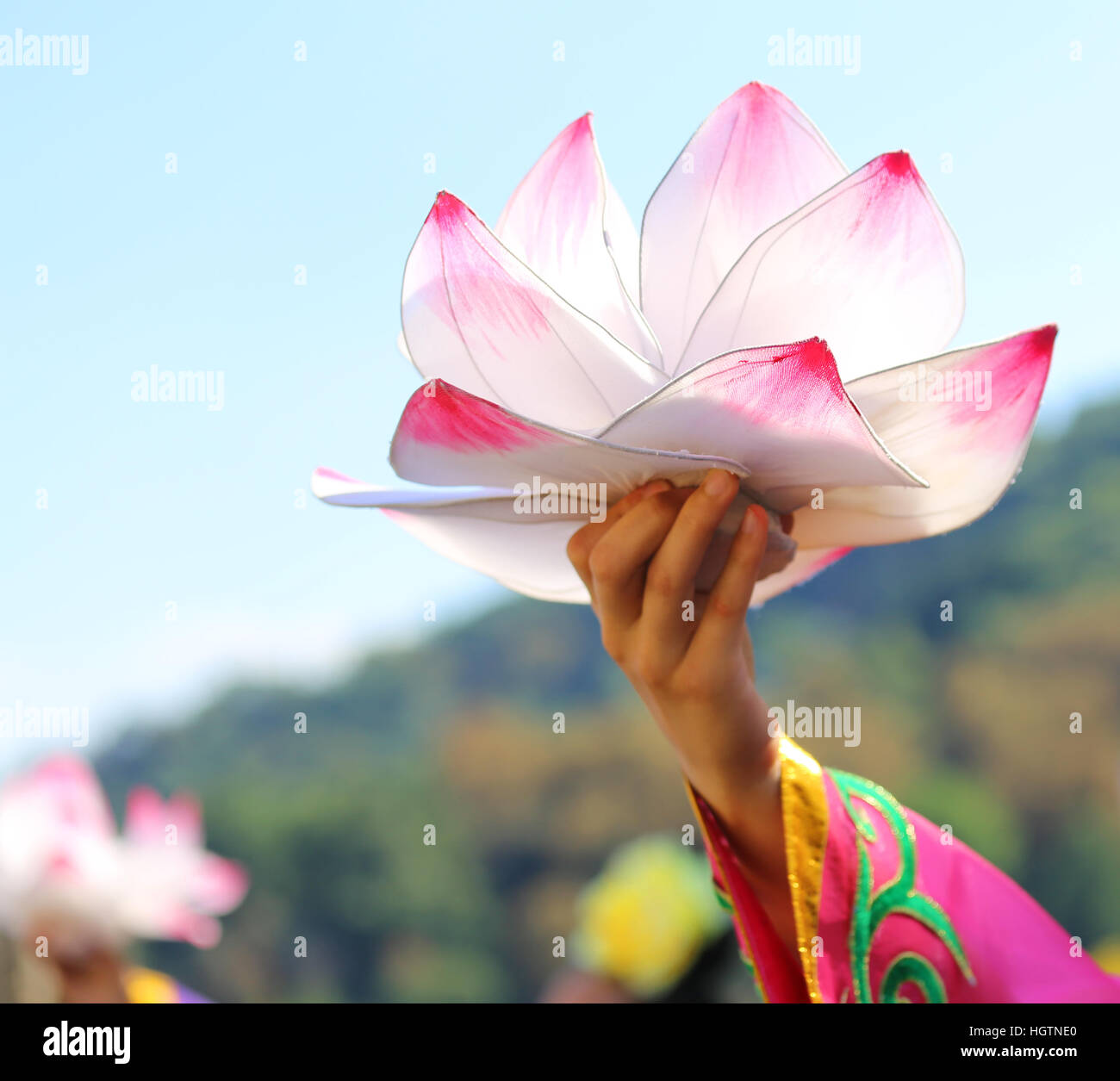 Big lotus flower supported by the hands of the oriental dancer stock big lotus flower supported by the hands of the oriental dancer mightylinksfo