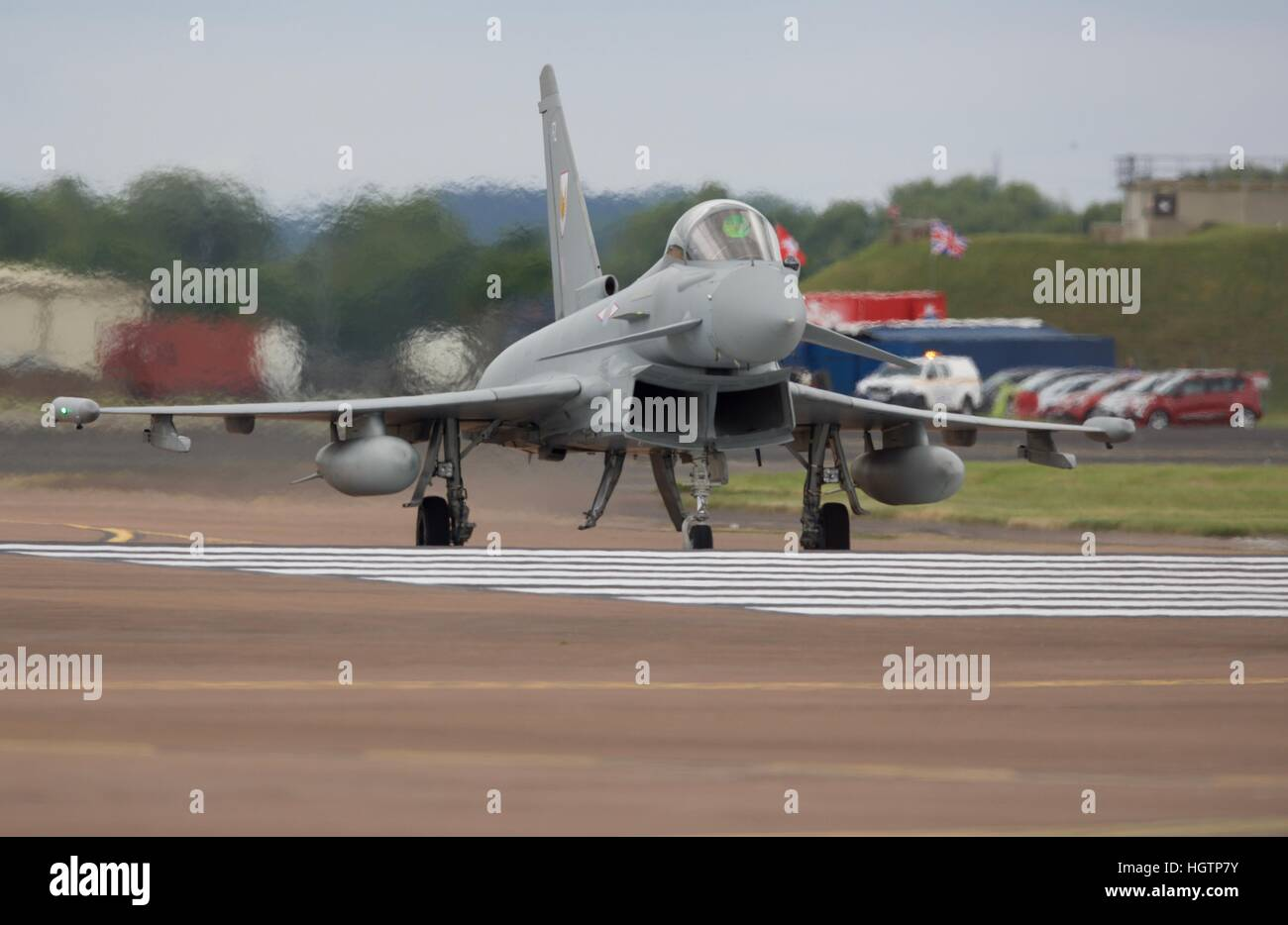 Eurofighter Typhoon taxiing on the runway at RAF Fairford - Stock Image