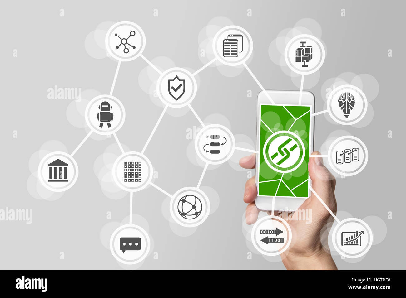 Blockchain and bitcoin concept with hand holding mobile phone - Stock Image