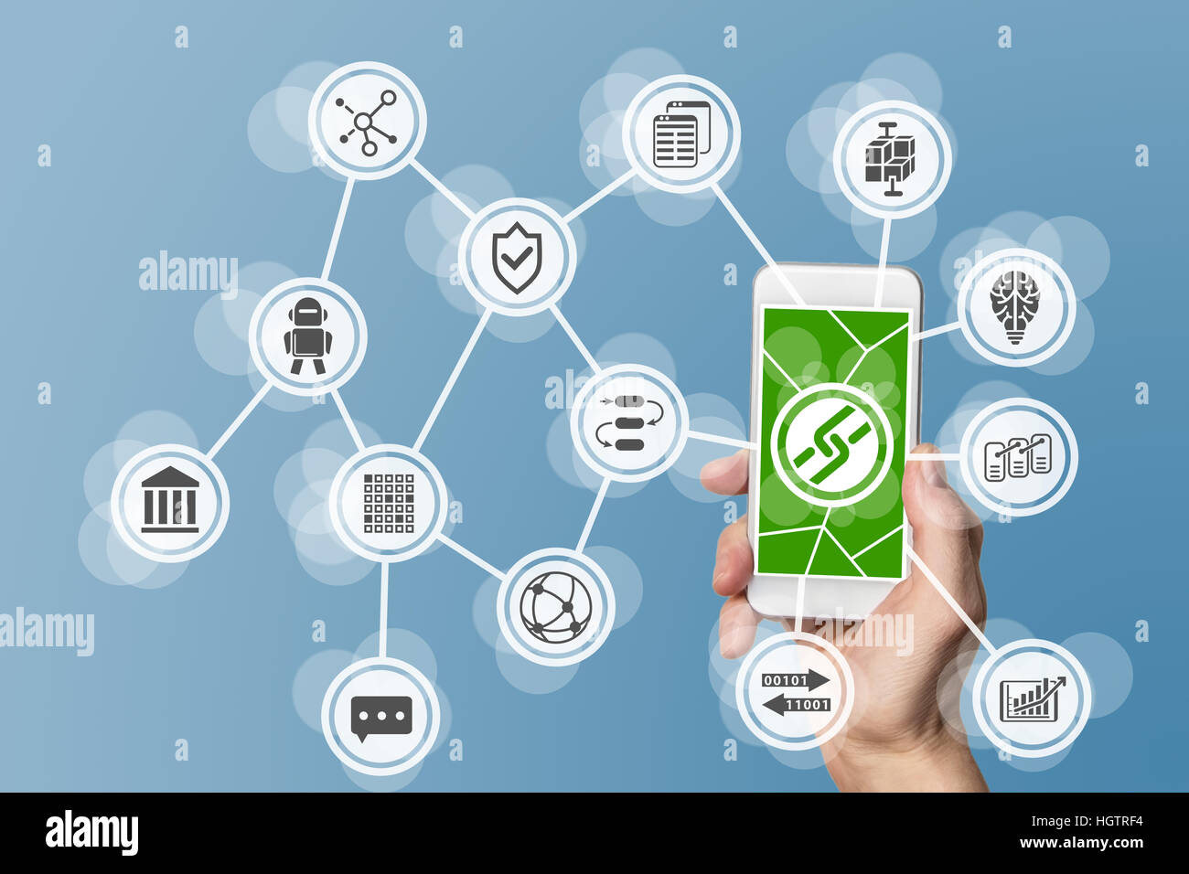 Blockchain and mobile computing background - Stock Image