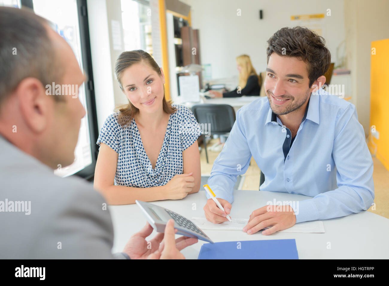 dealing with a loan officer - Stock Image