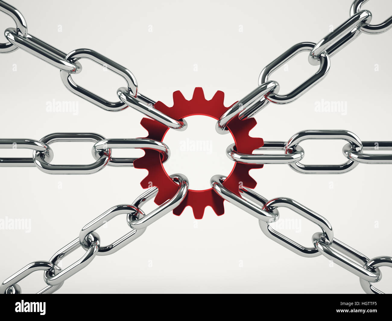 Cooperation business concept with chains. mixed media - Stock Image