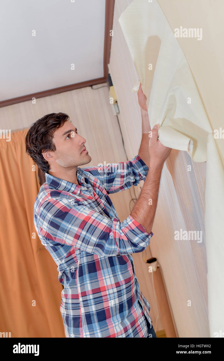 Removing Old Wallpaper Stock Photo 130854250