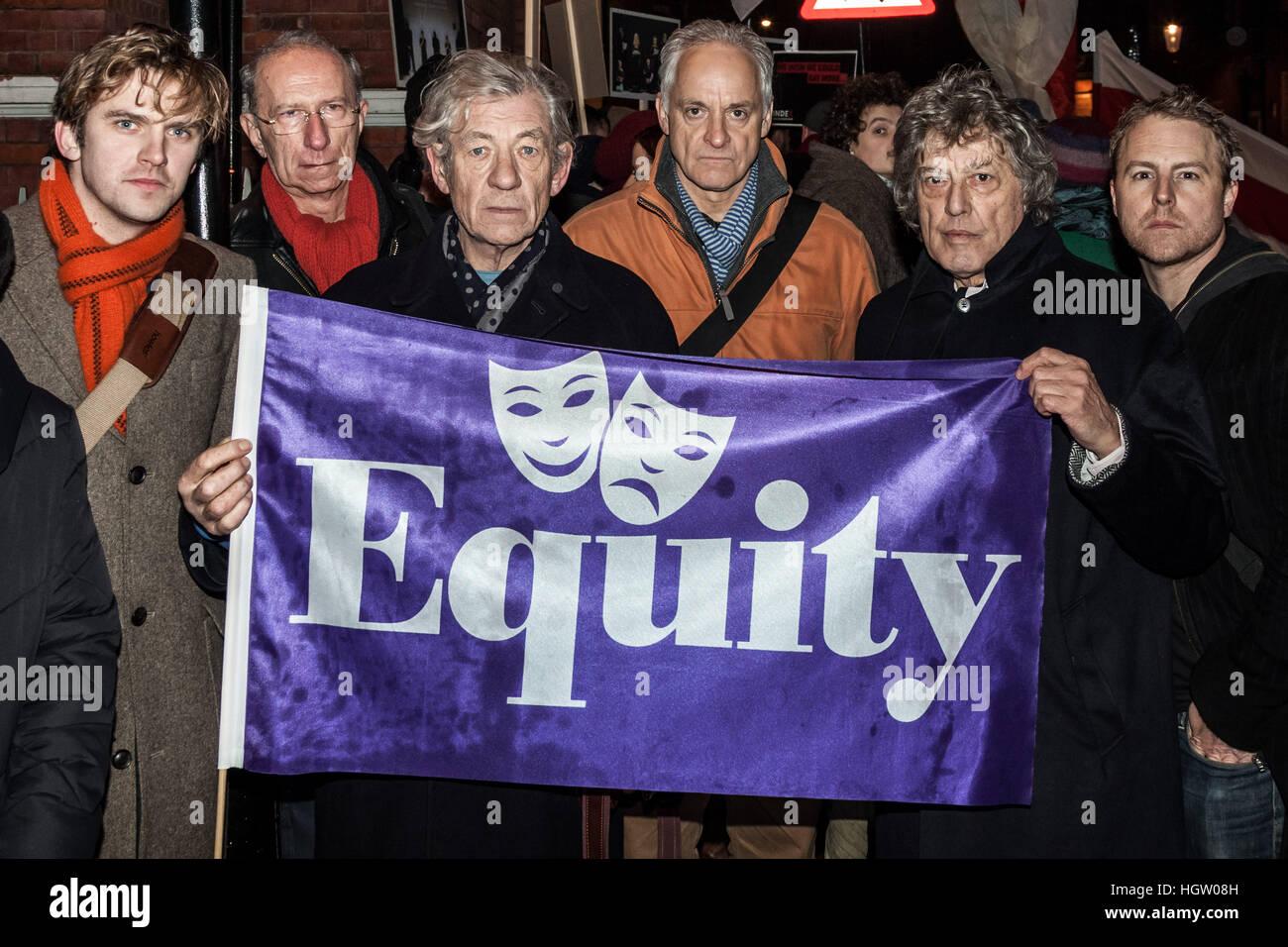 Equity members (L-R) Dan Stevens, Martin Sherman, Ian McKellen, Malcolm Sinclair, Tom Stoppard and Samuel West join - Stock Image
