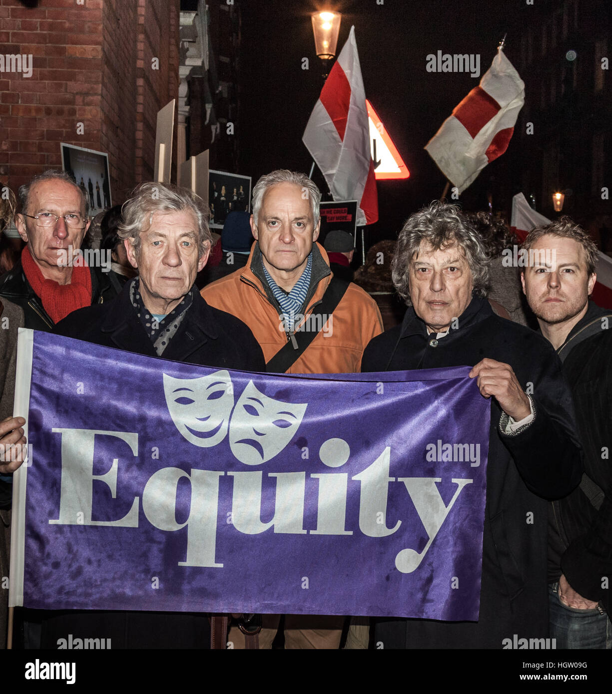 Equity members (L-R) Martin Sherman, Ian McKellen, Malcolm Sinclair, Tom Stoppard and Samuel West join Free Belarus - Stock Image