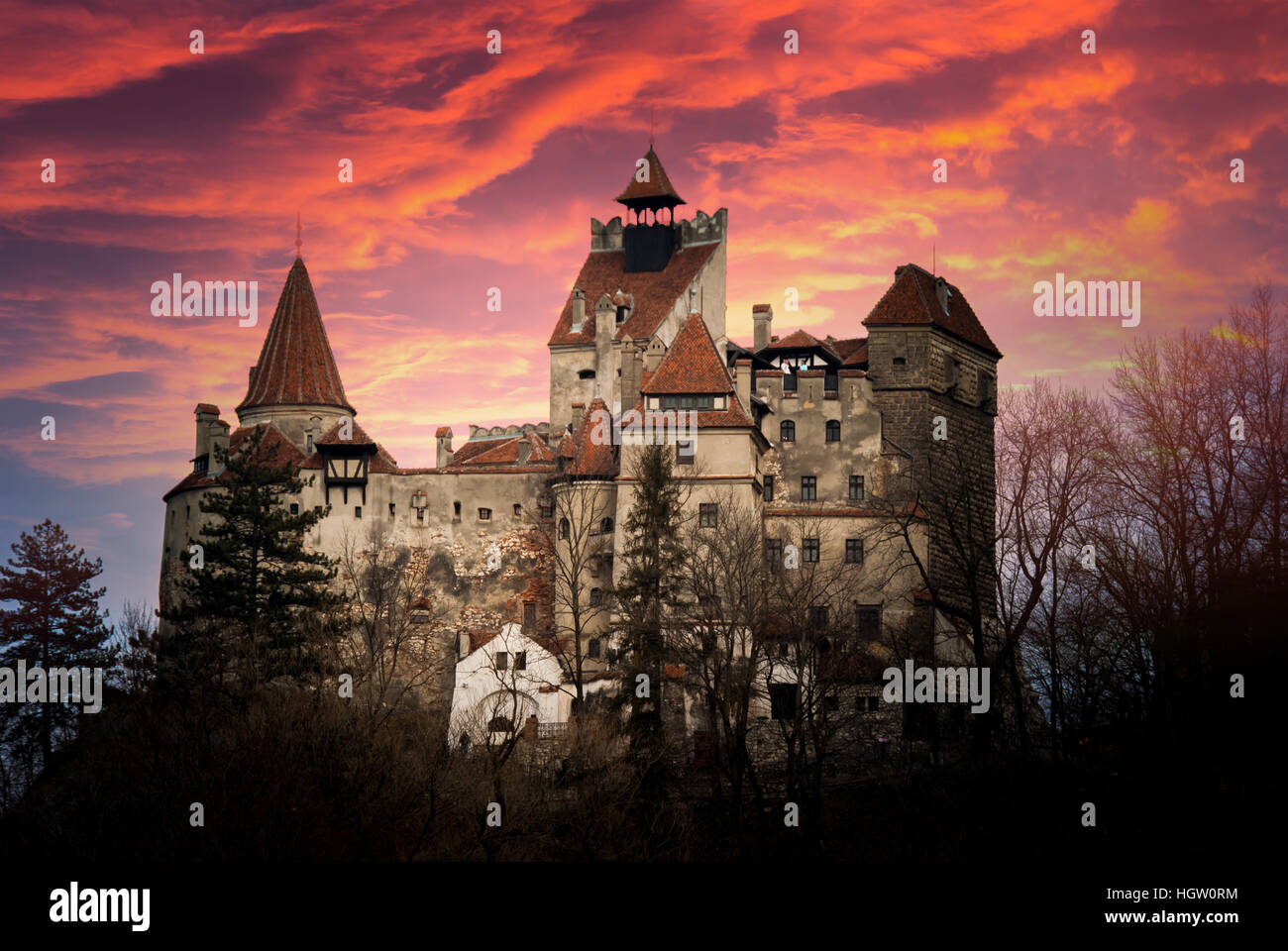 Bran Castle, Transylvania, Romania. Stunning sunset over the castle of Dracula. - Stock Image