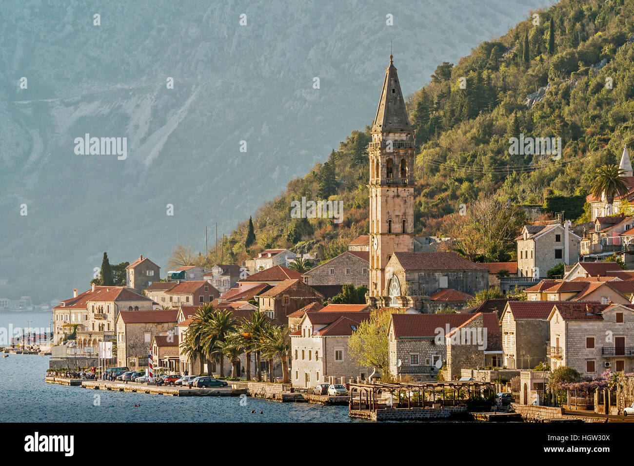 The Small Village Of Dobrota Montenegro - Stock Image