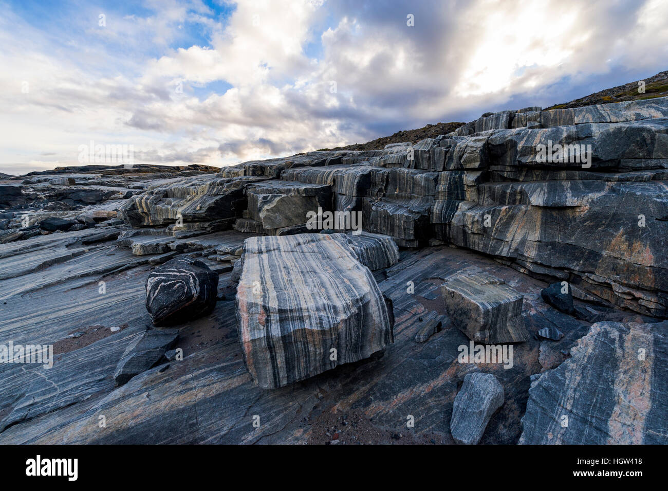 Striations carved into the bedrock by ice erosion as a