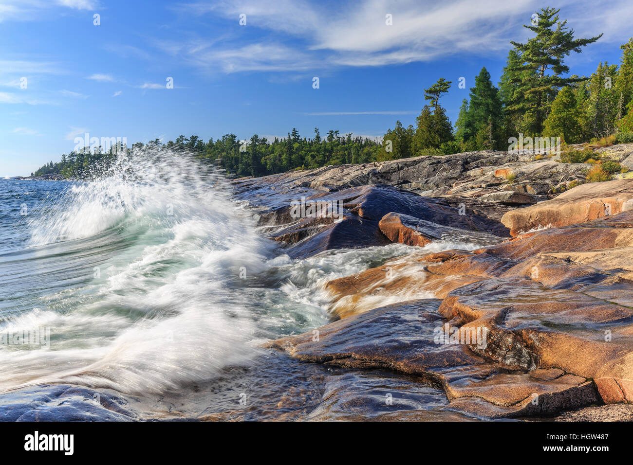 Crashing Waves on Lake Superior, Lake Superior Provincial Park, Ontario, Canada. - Stock Image