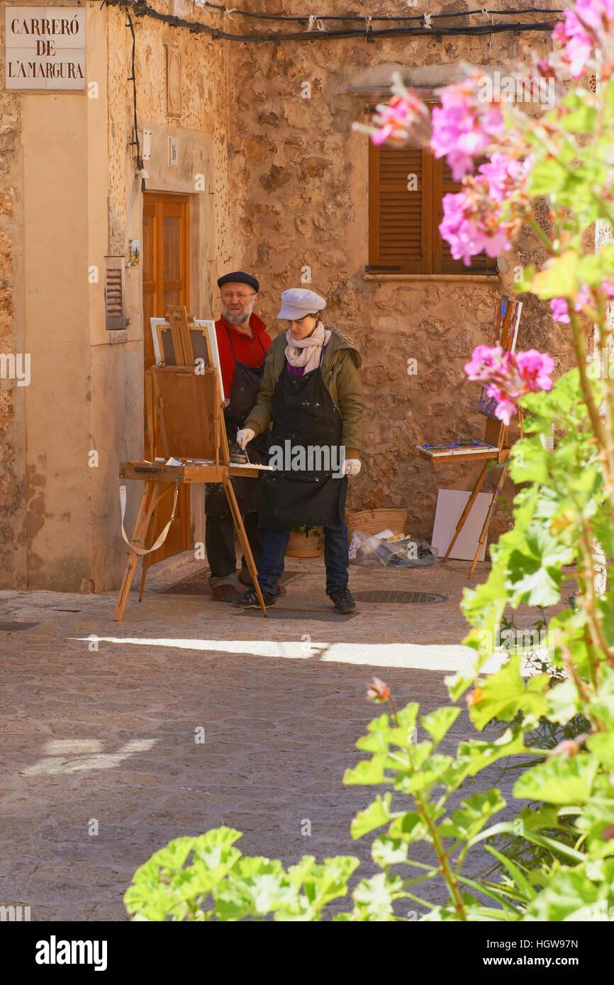 Mallorca, Valldemosa, Majorca, Artist Painting, Serra de Tramuntana, World Heritage Site, Balearic Islands, Spain - Stock Image