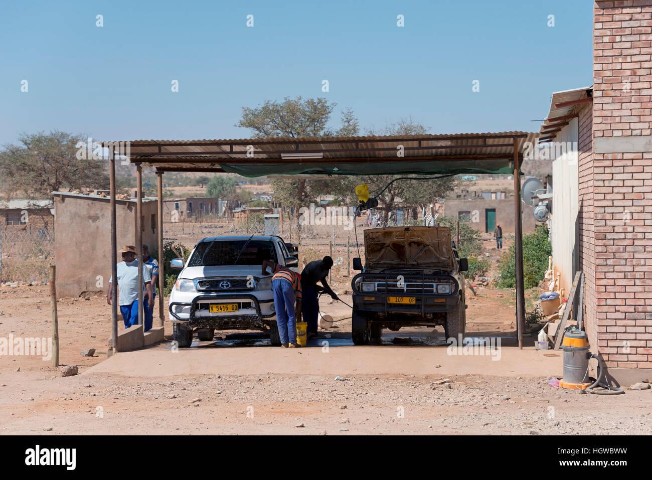 Cars wash, Opuwo, Namibia - Stock Image