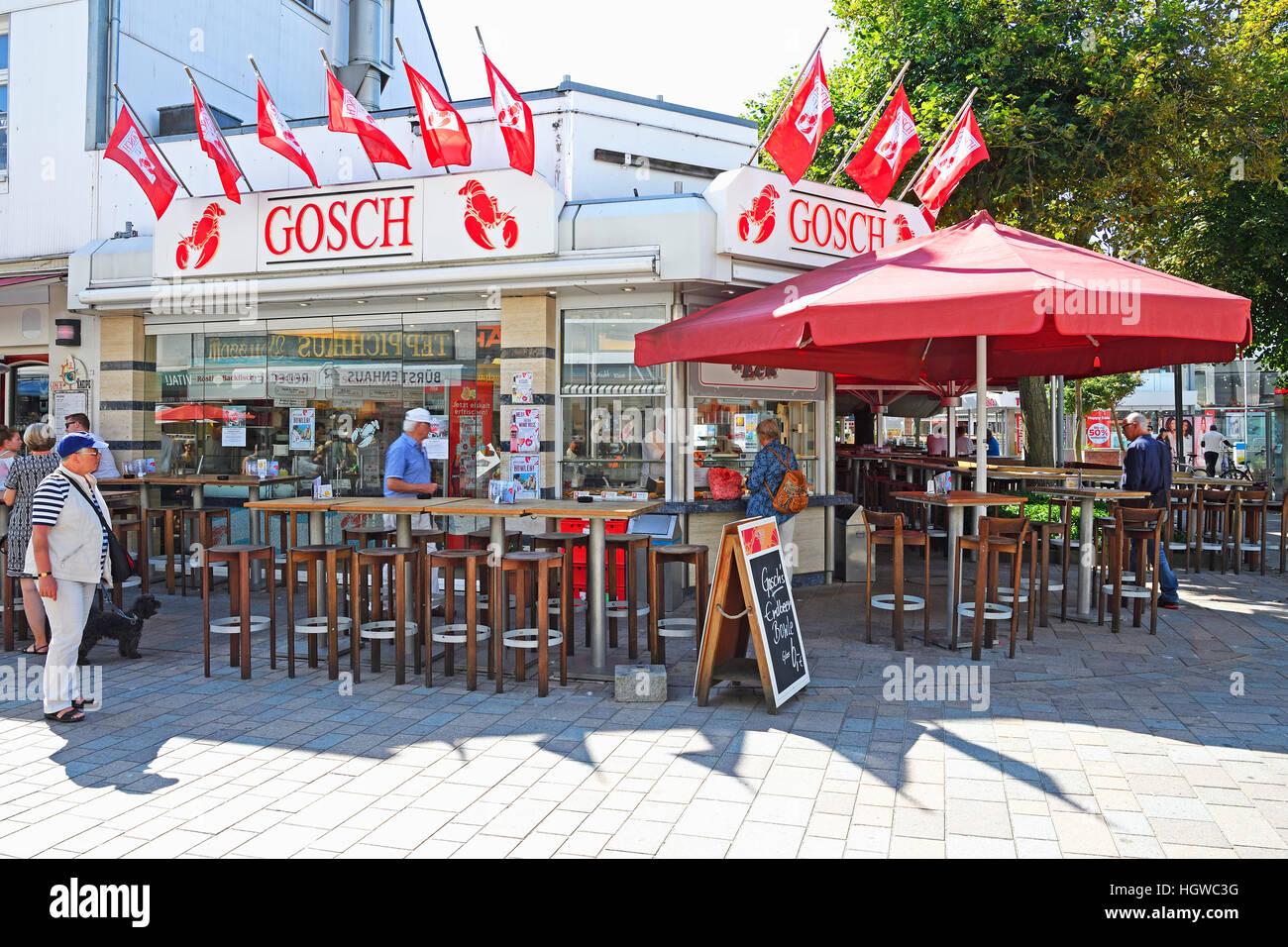 Filiale der Firma Gosch in der Friedrichstrasse in Westerland, Hauptseinkaufsstrasse, Sylt, nordfriesische Inseln, - Stock Image