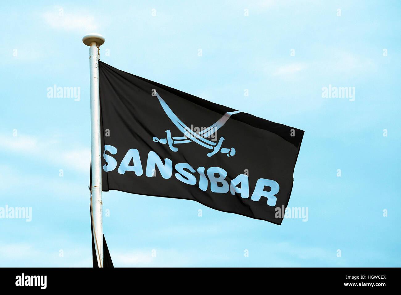 Fahne des Kultrestaurant Sansibar in den Duenen von Rantum, Sylt, nordfriesische Inseln, Nordfriesland, Schleswig - Stock Image