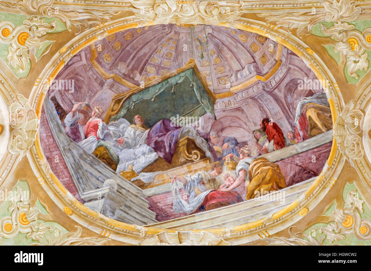 VIENNA, AUSTRIA - DECEMBER 19, 2016: The ceiling fresco of The Birth of Virgin Mary in church Mariahilfer Kirche - Stock Image