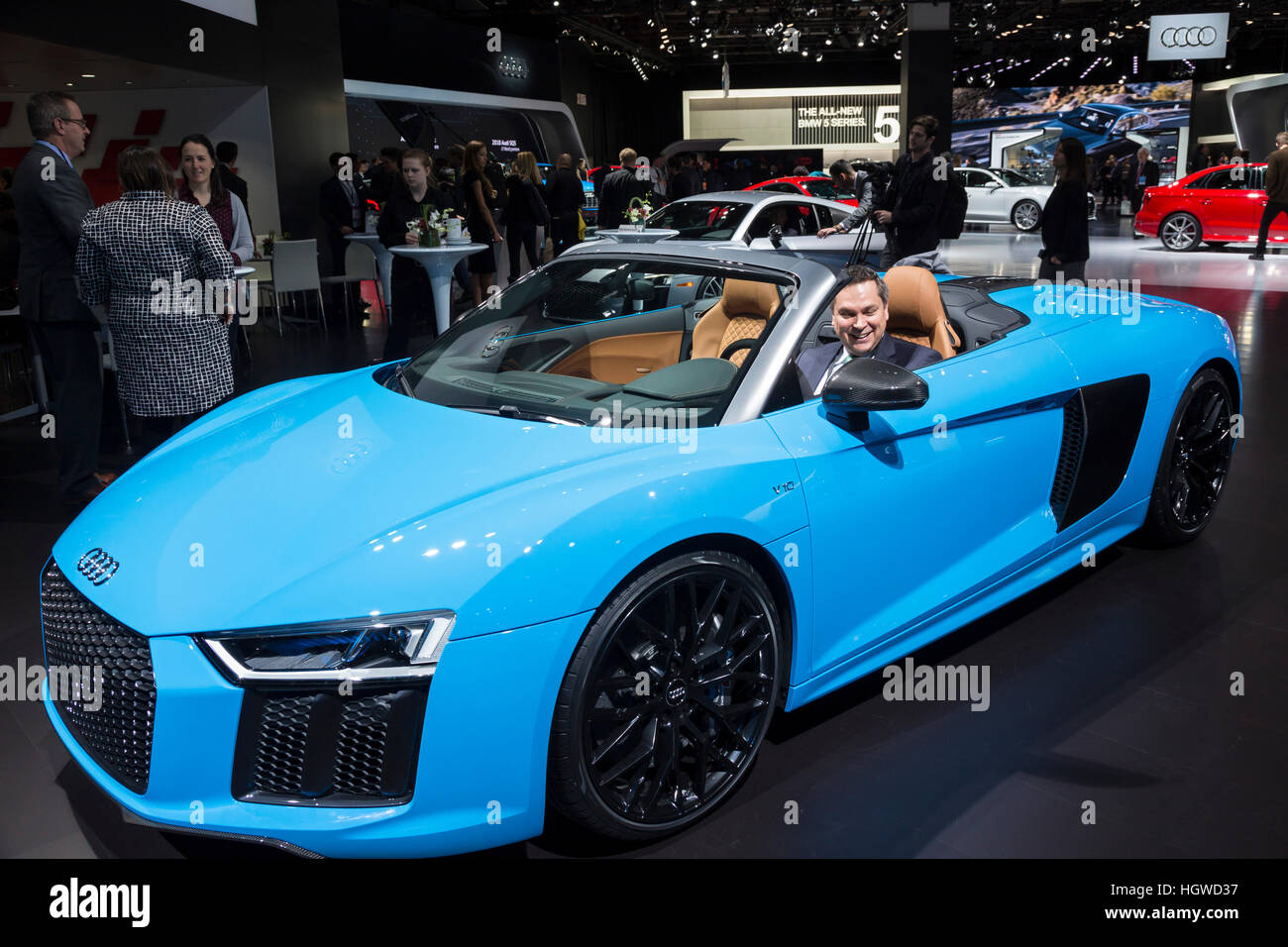 Detroit, Michigan - The Audi R8 V10 convertible on display at the North American International Auto Show. - Stock Image