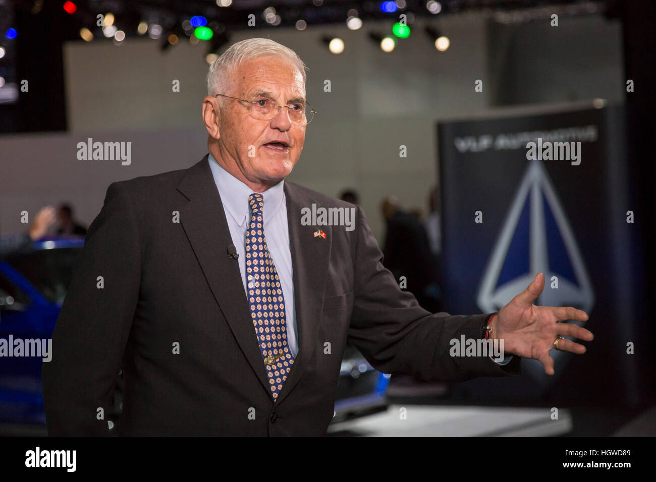 Detroit, Michigan - Bob Lutz, chairman of VLF Automotive, at the North American International Auto Show. - Stock Image