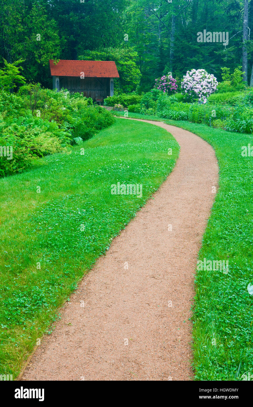 A path at Thuya Gardens in Northeast Harbor, Maine. Stock Photo