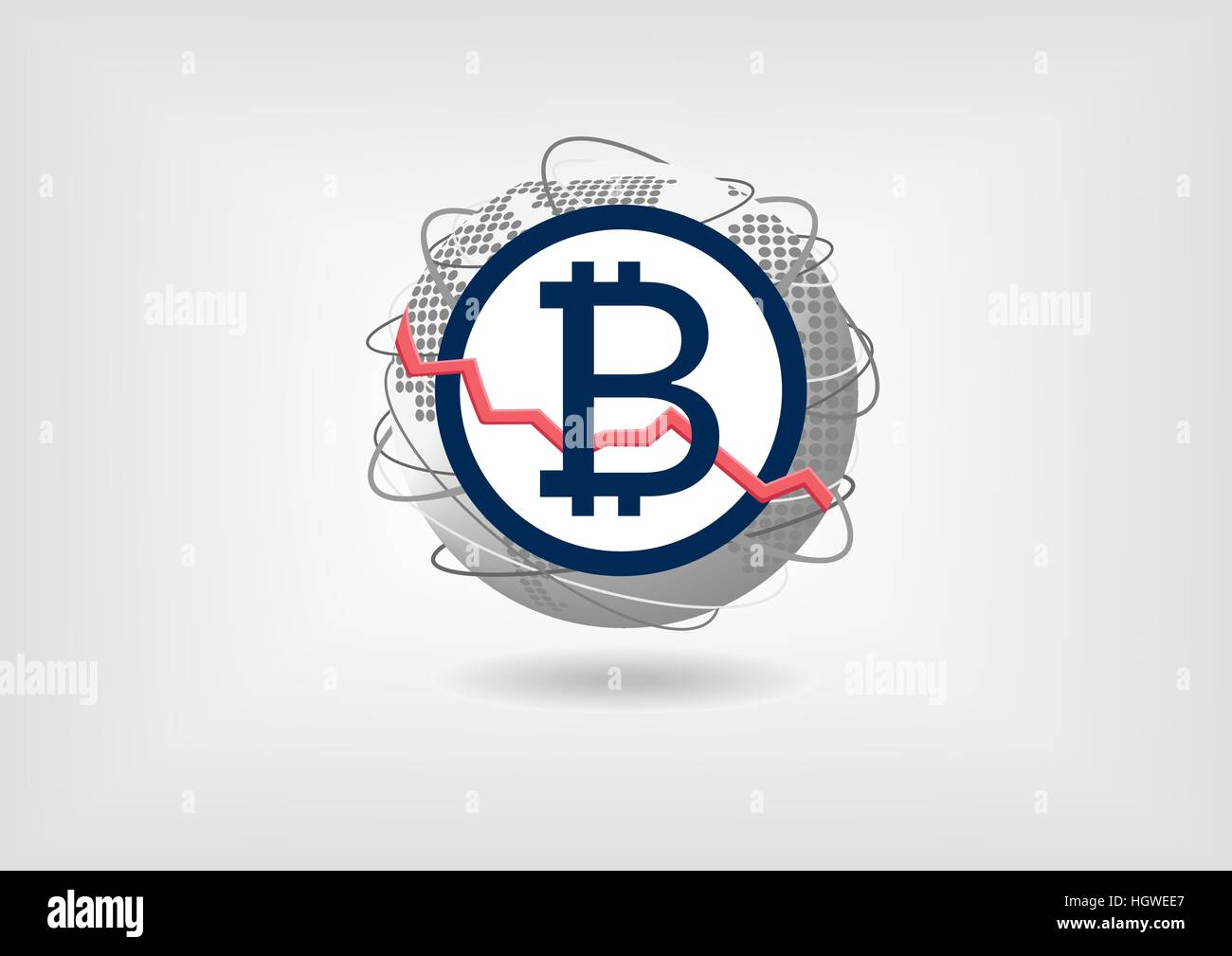 Bitcoin currency decline concept as vector illustration - Stock Image