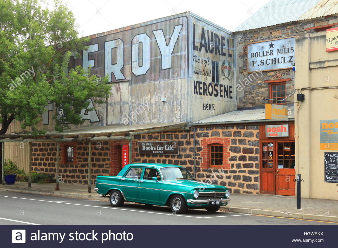 A 1960's car parked outside the cafe 'Nosh' in Tanunda, Barossa Valley, South Australia January 2017 - Stock Image