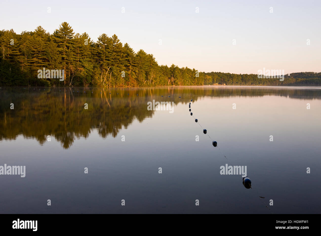 Early morning at Otter Lake in Greenfield State Park in Greenfield, New Hampshire. Stock Photo