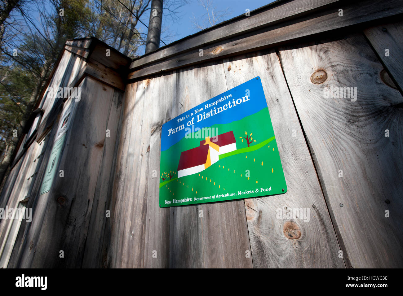 Farm of Distinction sign at Folsom's Sugar House in Chester, New Hampshire. - Stock Image