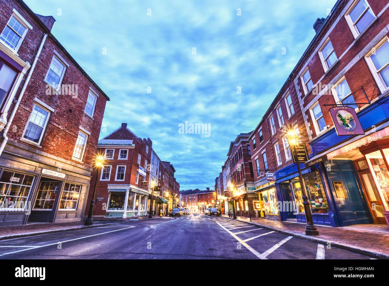 New Hampshire Portsmouth Market Street Stock Photos & New Hampshire ...