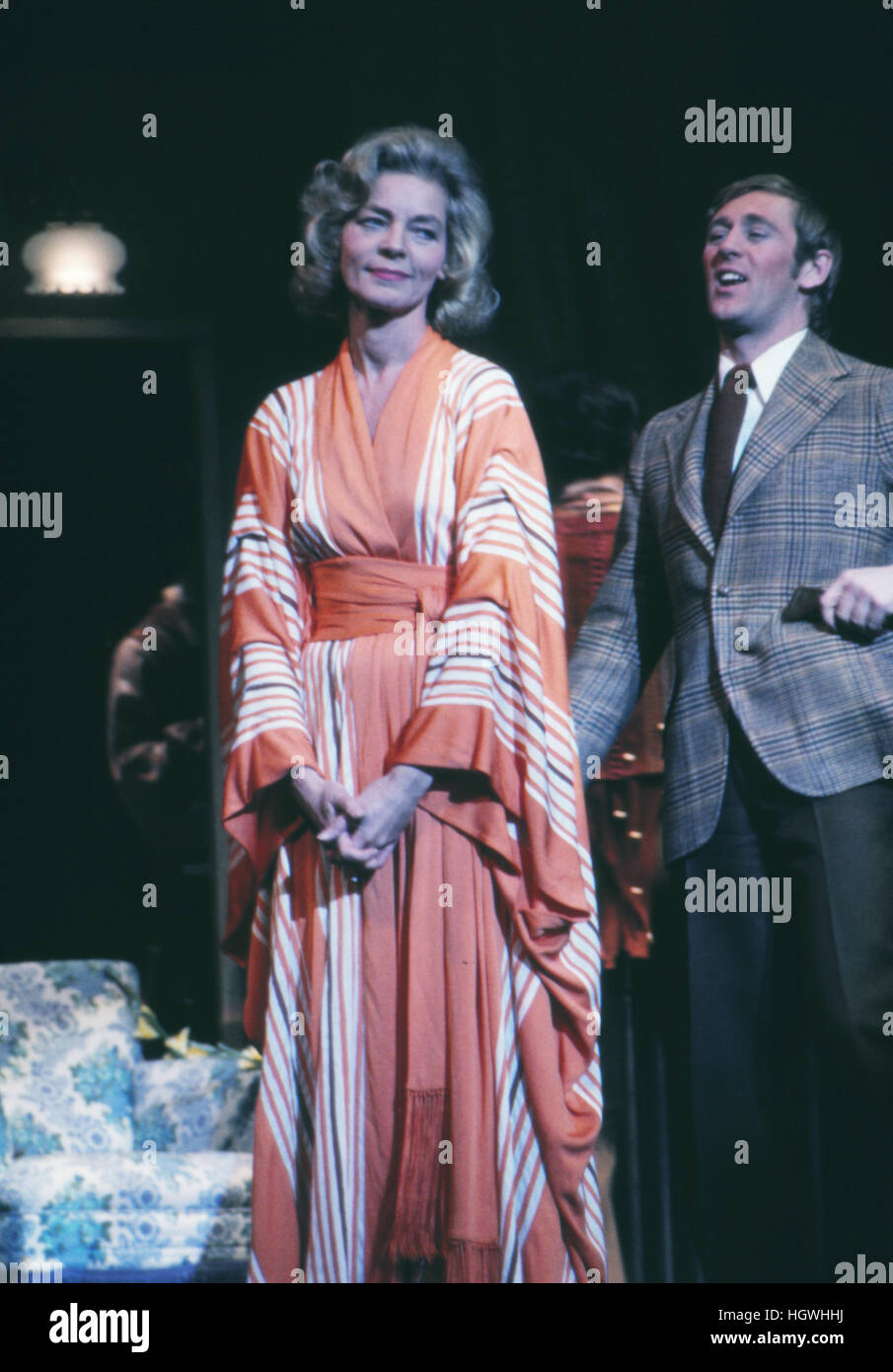 Len Cariou and Lauren Bacall, on stage in the 1970 Broadway musical Applause. - Stock Image