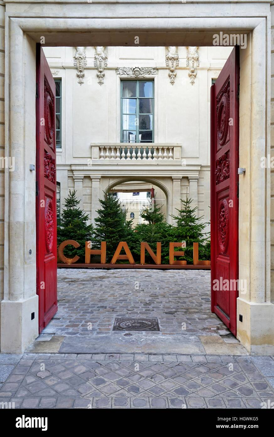 11b1dd684f54 French fashion house Chanel has opened a temporary pop-up store in a  landmark building in the Marais in Paris
