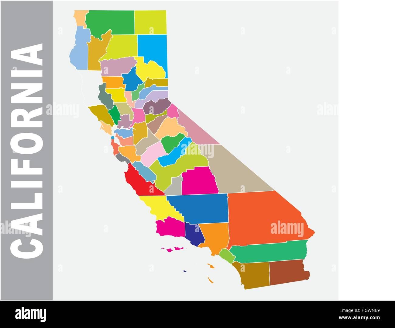 Colorful California administrative and political vector map ... on california counties, california tourist map, california regional map, california election map 2012, california judicial system, california food map, california nature map, california language map, california history map, california climate map, california tourist attractions, california natural resource, california state physical map, california map projection, california resource map, california google maps, california republican democrat map by county, california shaded relief map, lake county california road map, california geographic map,