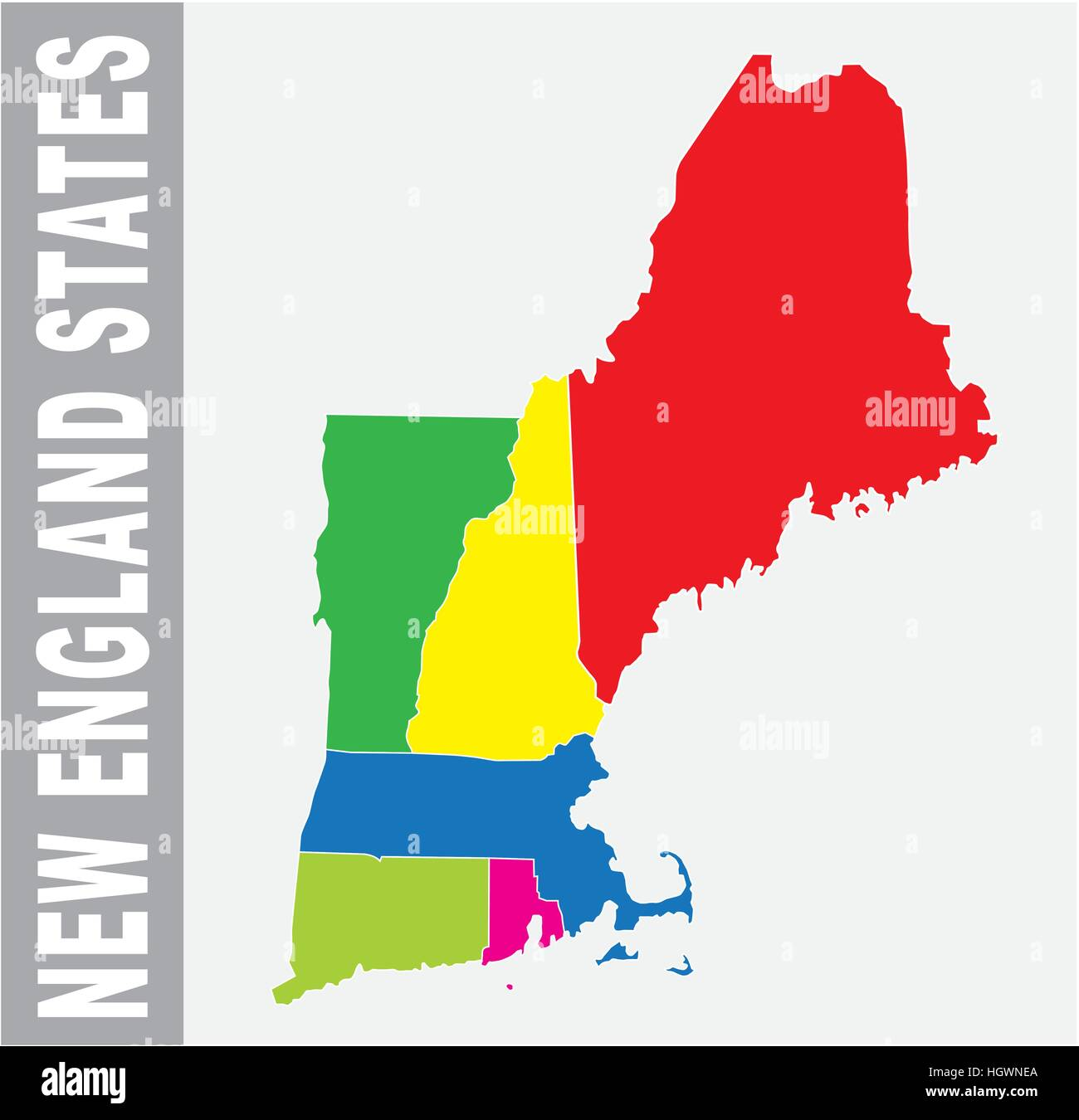 Colorful New England States administrative and political vector map ...