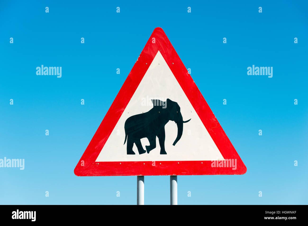 Sign, beware elephants, near Opuwo, Namibia - Stock Image