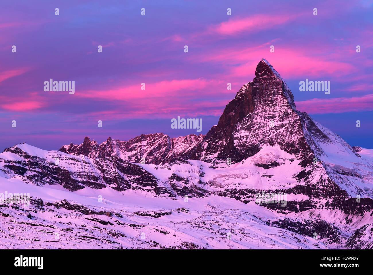 Matterhorn at dawn, Valais Alps, Zermatt, Canton of Valais, Switzerland - Stock Image