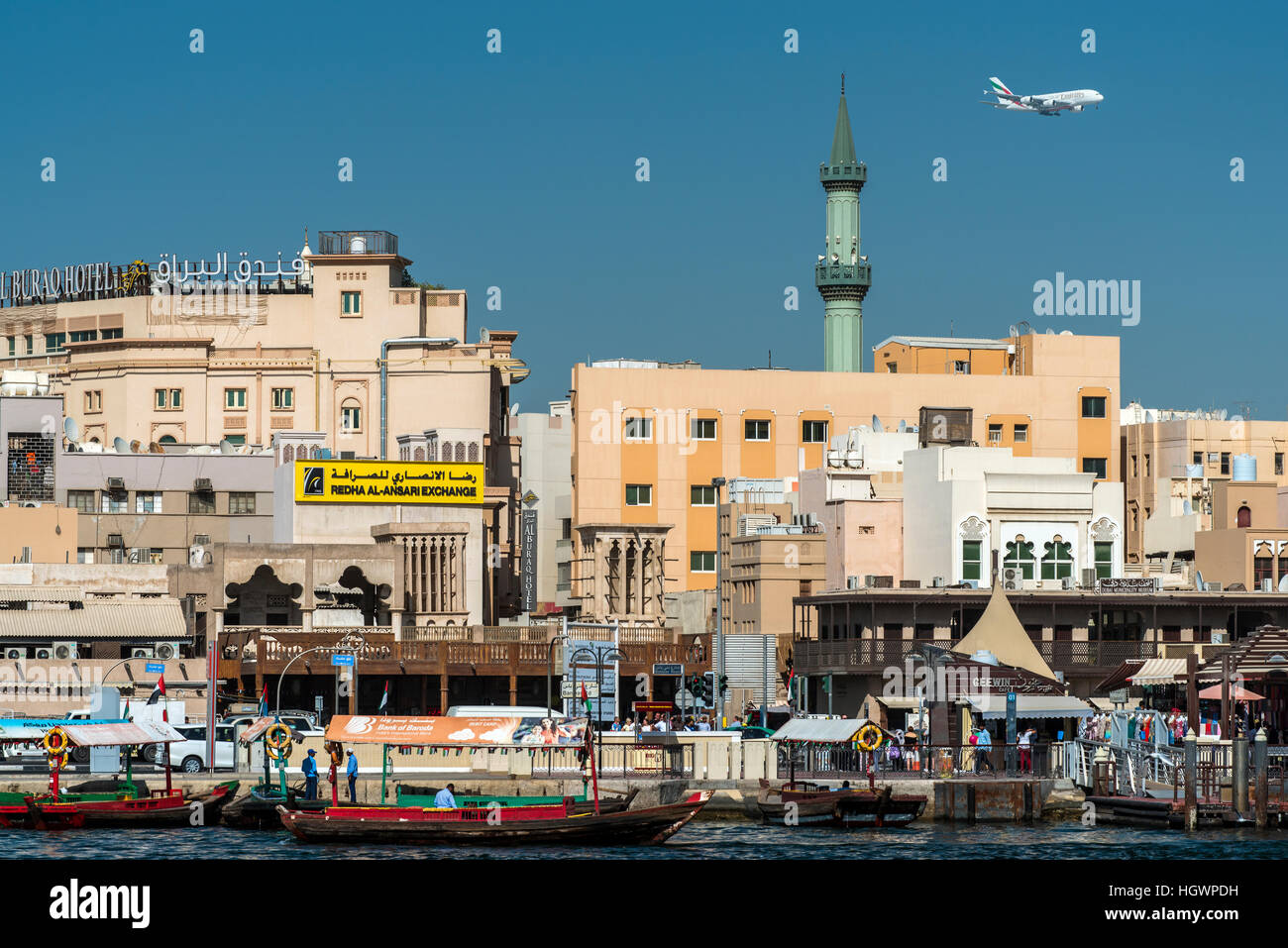 View over Deira district from across the creek, Dubai, United Arab Emirates Stock Photo