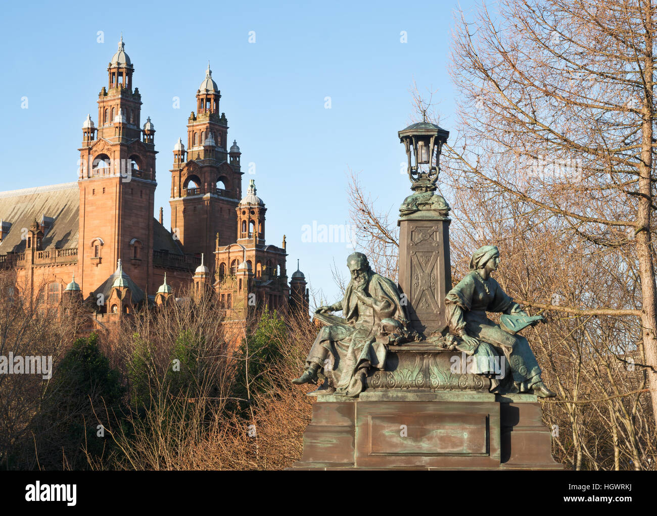 Bronze sculpture 'Philosophy and Inspiration', by Paul Raphael Montford, on Kelvin Way bridge,Glasgow, Scotland, - Stock Image