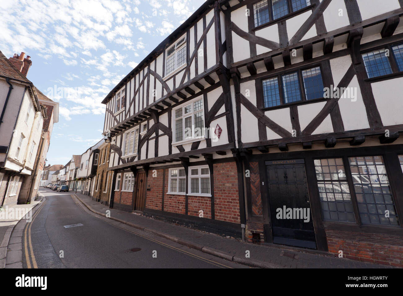 39 and 41 Strand Street Sandwich, Kent formerly known as Pilgrim's House) is a 14th to 16th-century timber framed - Stock Image