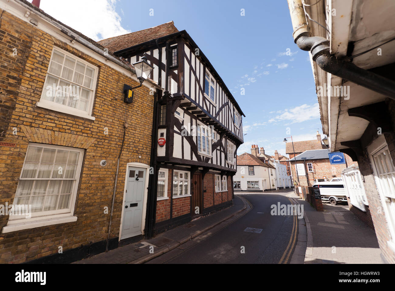 39 and 41 Strand Street Sandwich, Kent formerly known as Pilgrim's House) is a 14th to 16th-century timber framed Stock Photo