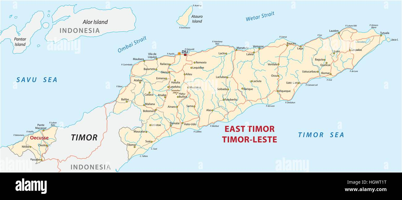 Vector road map of the Democratic Republic of Timor-Leste - Stock Image